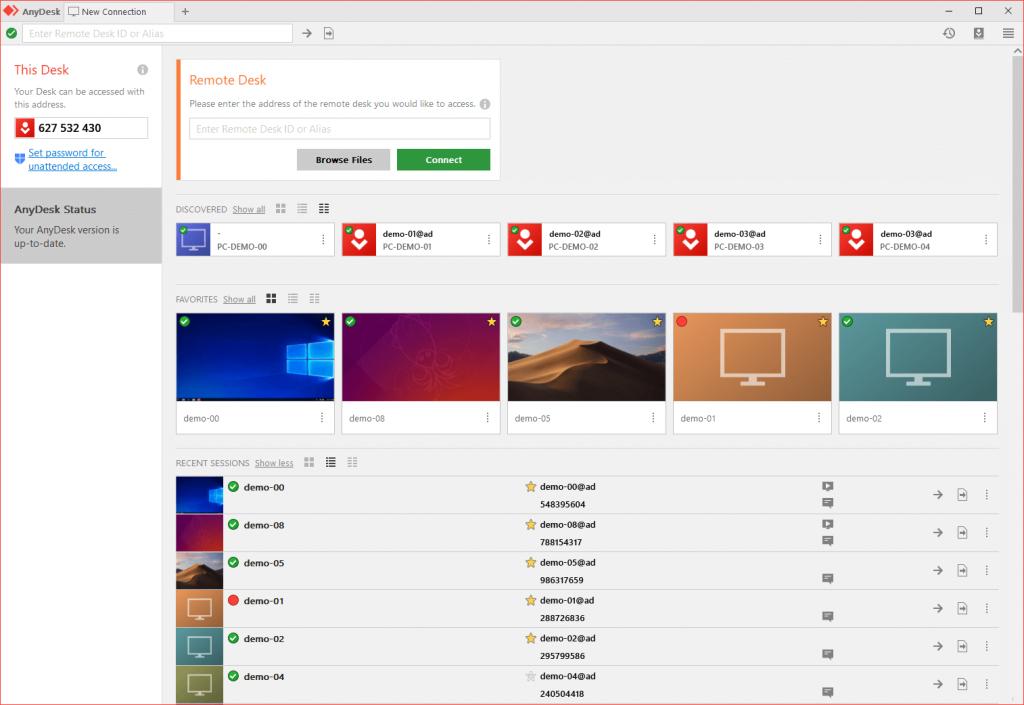تصویری از محیط برنامه ریموت به نام Anydesk