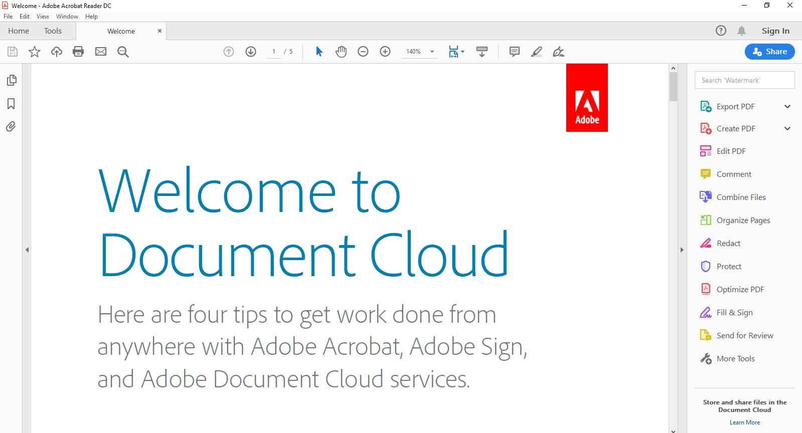 سند باز شده با نرم افزار Adobe Acrobat Reader