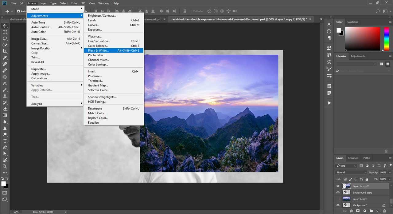 تنظیم رنگ در فتوشاپ برای ساخت double exposure