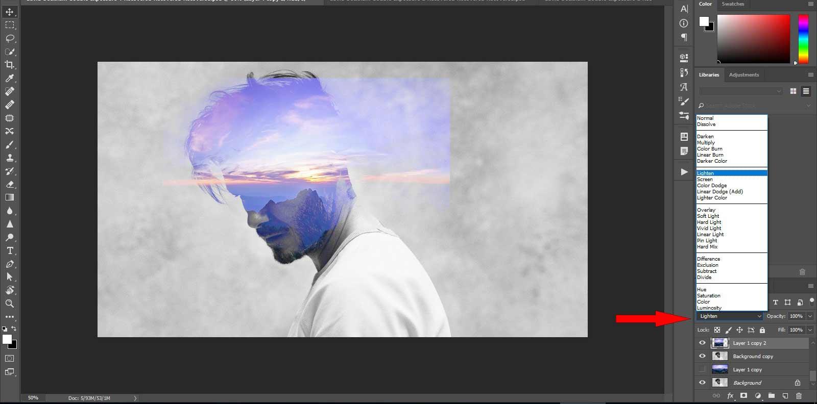 ویژگیBlending Mode در فتوشاپ جهت ساخت double exposure