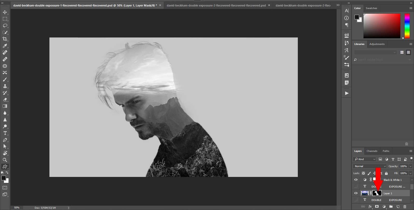 Layer Mask در فتوشاپ double exposure