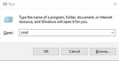 پنجره RUNجهت رفتن به صفحه CMD ویندوز