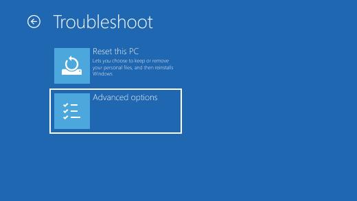 صفحهTroubleshoot blue screen -جهت حذف فایل و فولدر