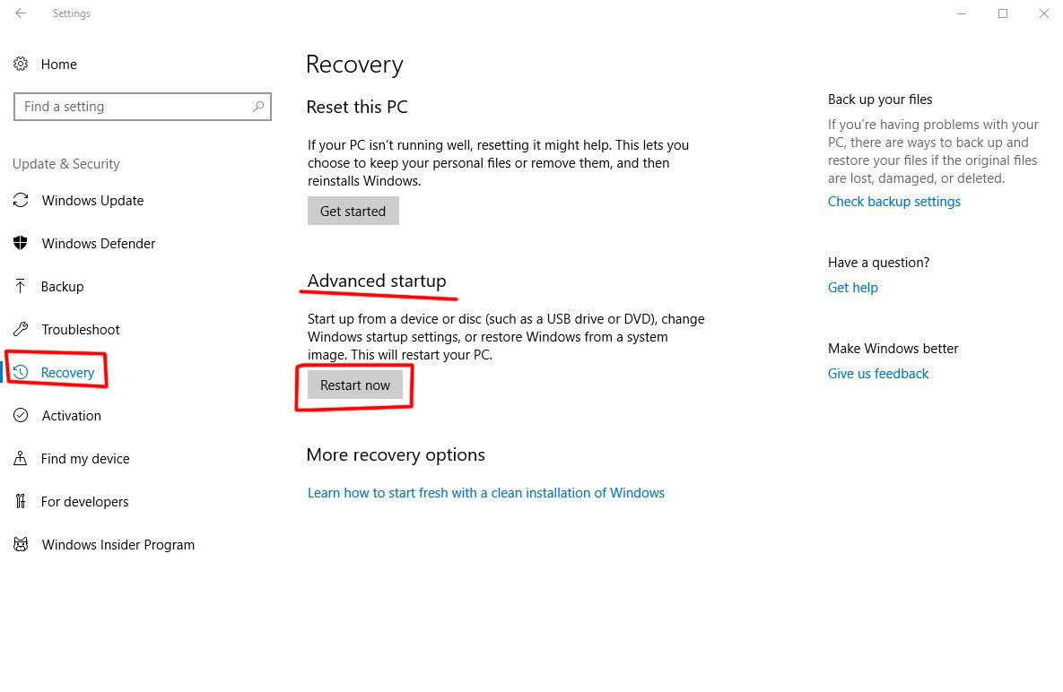 پنجره recovery windows 10-safe mode