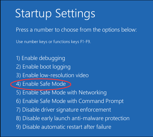 صفحه startup settings-جهت حذف فایل و فولدر