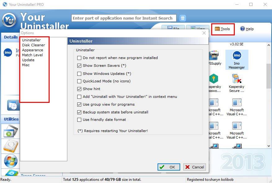 یور آنیستالر-Your Uninstaller Pro tools option