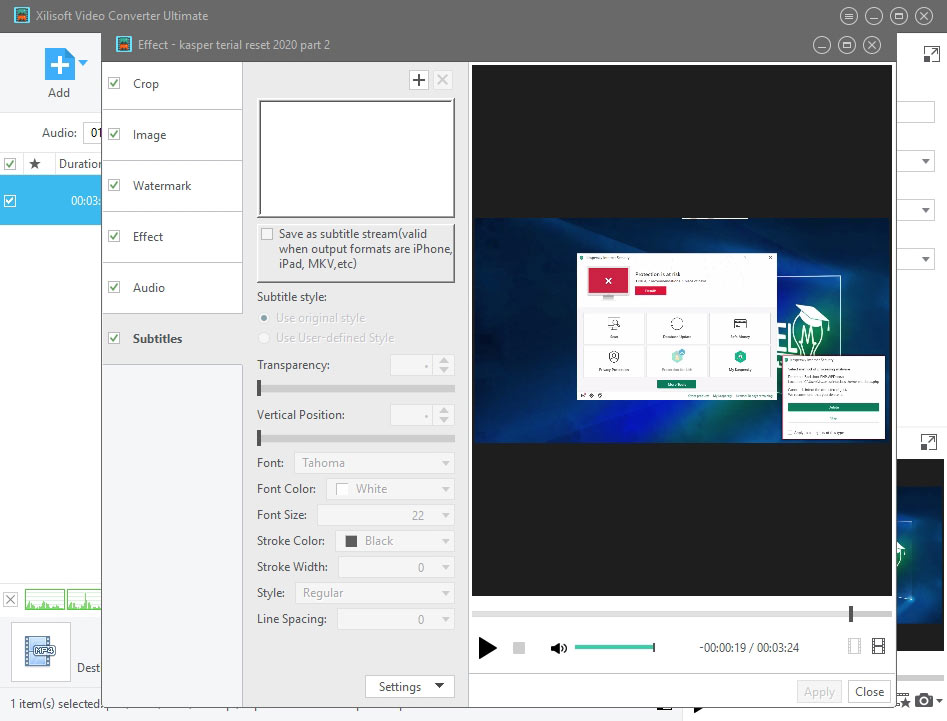 زیرنویس نرم افزار xilisoft video converter