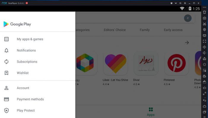 نصب برنامه های اندرویدی در گوگل پلی نرم افزار نوکس پلیر