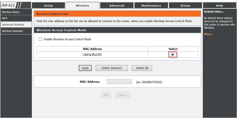 WiFi password error-wireless mac address