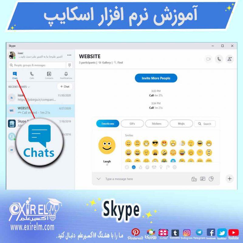 محیط چت پیام رسان اسکایپ