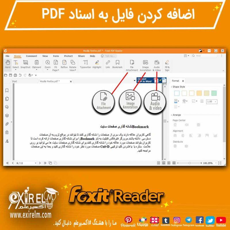 طریقه اضافه کردن فایل (عکس،ویدیو،فایل صوتی) در نرم افزار فوکسیت ریدر