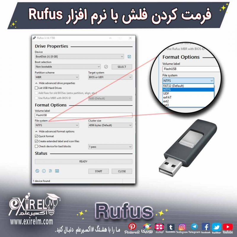 آموزش فرمت کردن فلش USB از طریق برنامه Rufus